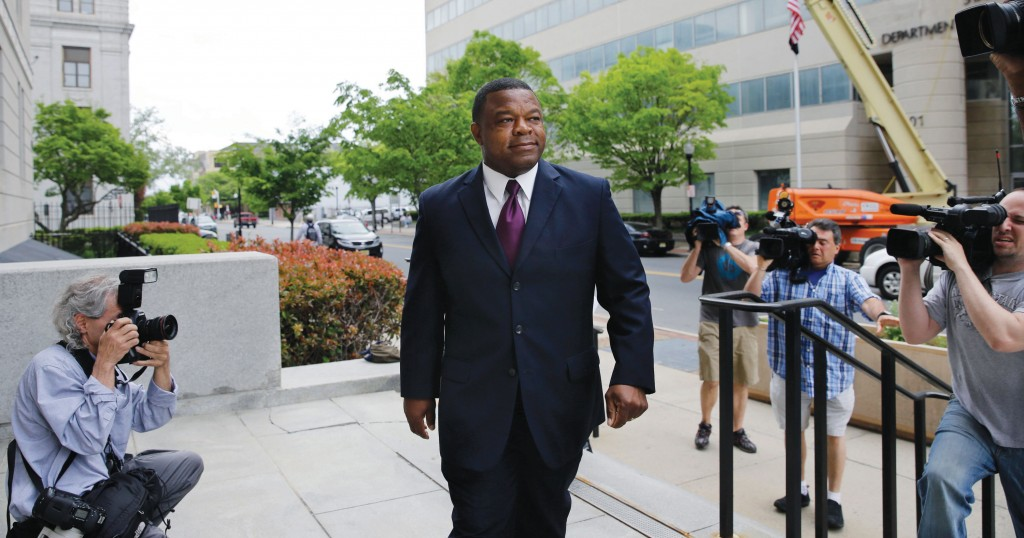 Former Trenton Mayor Tony Mack on Thursday arrives at Federal Court in Trenton for his sentencing. (AP Photo/Mel Evans)