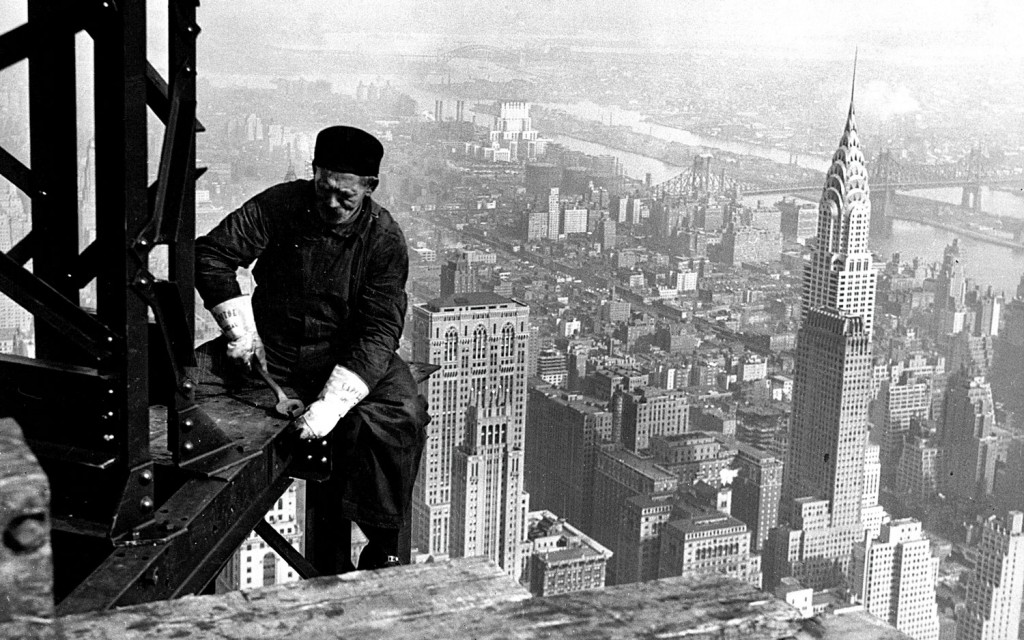 How N.Y. Was Built: A worker building the Empire State Building circa 1930-1931. The photo was released on Saturday. (AP Photo/National Archives, Records of the Works Progress Administration)