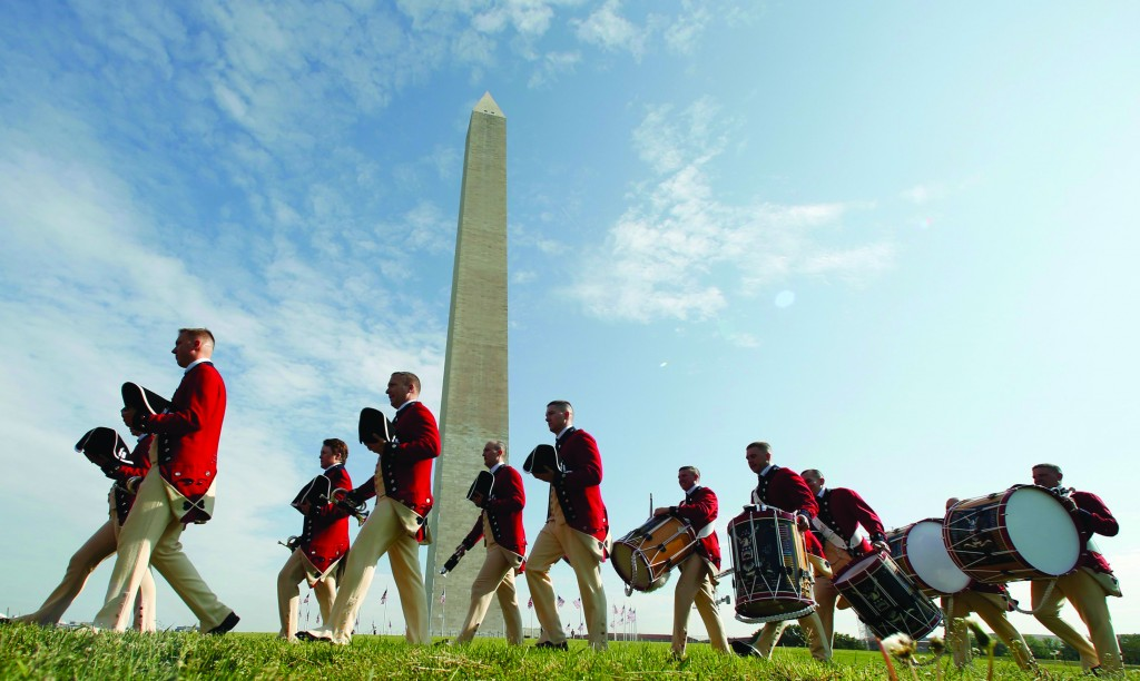 Members of the Old Guard Fife and Drum Corps arrive for the re-opening ceremony of the Washington Monument in Washington, May 12, 2014. The monument, long a landmark on the U.S. capital's skyline, reopened on Monday after being closed for repairs for almost three years after it was damaged in a 5.8-magnitude earthquake in August 2011.