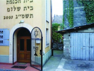 The synagogue of Doboj, located on the hill where floodwaters did not reach, is one of the few intact buildings in the city. It is being used as an emergency rescue center now.