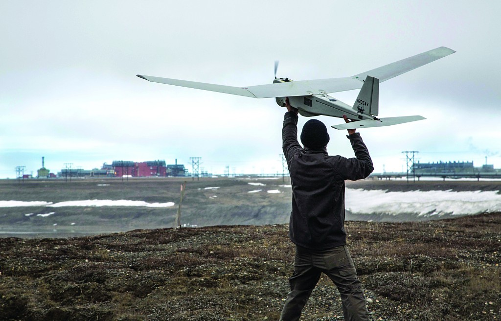 Unmanned Aerial System (UAS) technology using an AeroVironment Puma drone is given a pre-flight checkout in preparation for flights by BP at its Prudhoe Bay, Alaska operations. (AP Photo/BP Alaska)