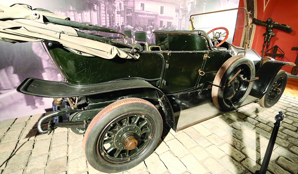 The car in where Austrian Archduke Franz Ferdinand was shot to death is on display at the Museum of Military History in Vienna, Austria, on Friday, June 27. Archduke Franz Ferdinand and his wife Sophie were assassinated in Sarajevo on June 28, 1914, an event which led to the outbreak of World War I. (AP Photo/Ronald Zak)