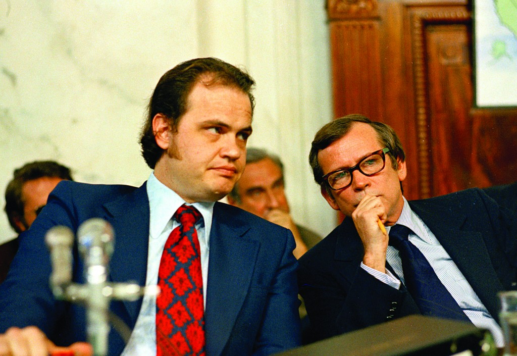 This May 17, 1973 file photo shows Fred D. Thompson (L), Chief Minority Counsel of the Senate Watergate Committee, talking with Sen. Howard Baker, (R-Tenn.) (R) during the Watergate hearings on Capitol Hill in Washington. (AP Photo, File)