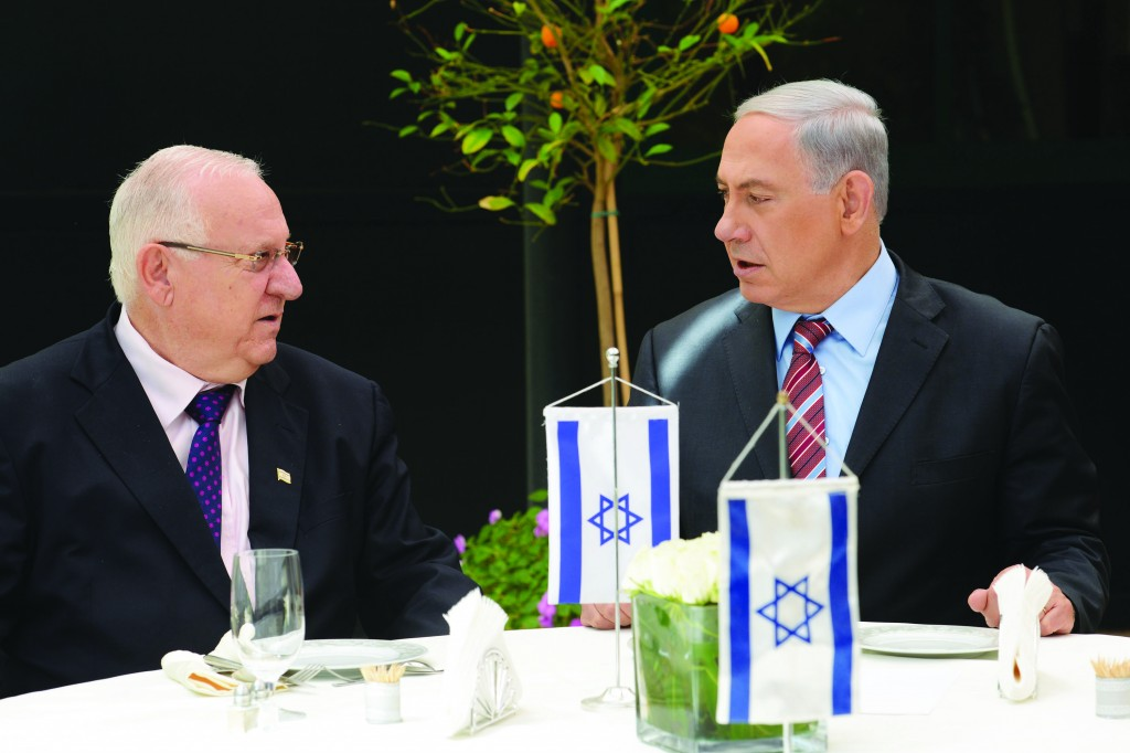 Reuven Rivlin (L) with Israeli Prime Minister Binyamin Netanyahu, a day after winning the election for president.   (Kobi Gideon/GPO/Flash90)