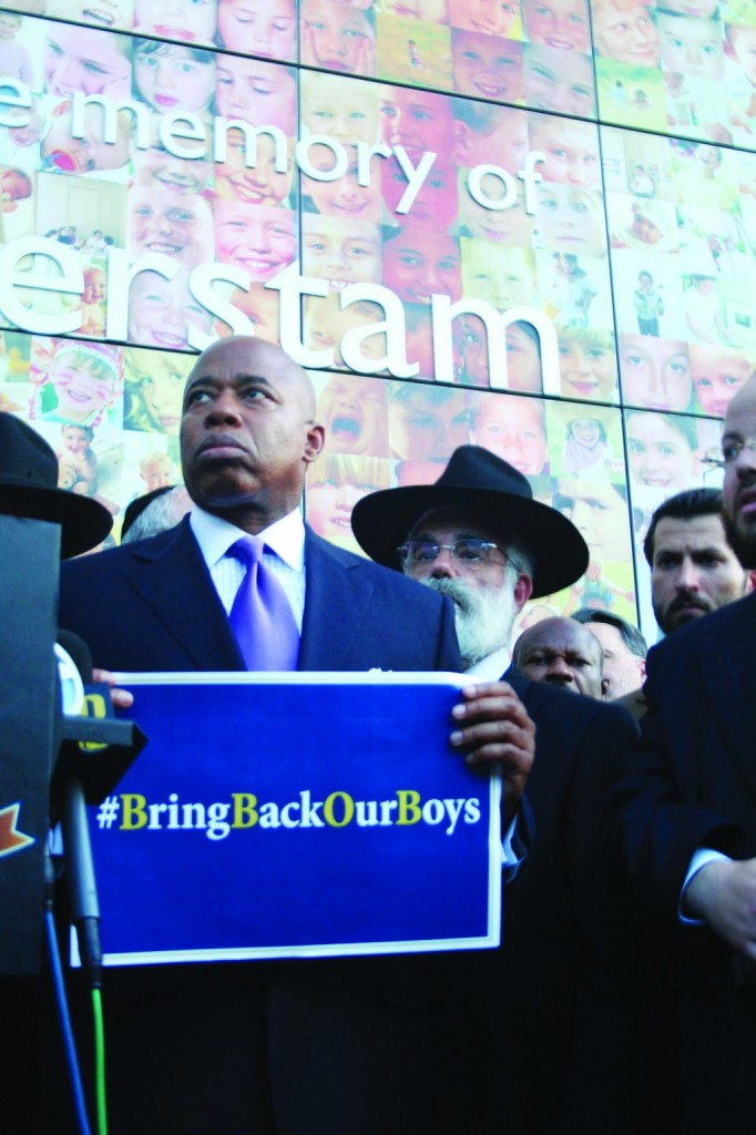 """Borough President Eric Adams on Tuesday demands """"Bring Back Our Boys,"""" at a Crown Heights solidarity protest with the three Israeli yeshivah bachurim kidnapped by Hamas-affiliated terrorists."""