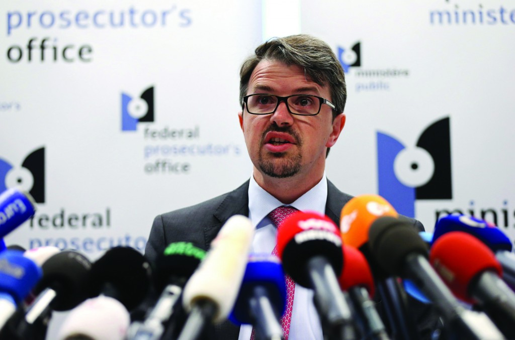 Belgian federal prosecutor Frederic Van Leeuw addresses a news conference in Brussels on Sunday after French police arrested a 29-year-old man suspected of involvement in the shooting deaths last weekend of three people at the Jewish Museum in Brussels. (REUTERS/Francois Lenoir)