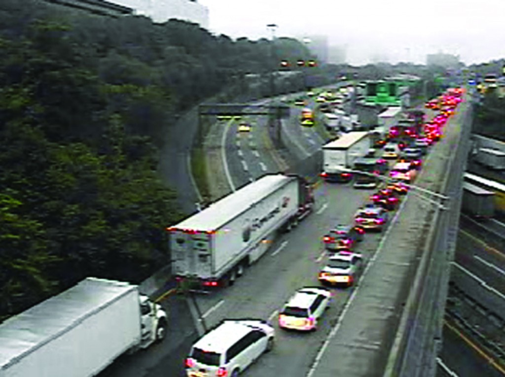 Traffic is backed up early Thursday morning following a fatal accident on the George Washington Bridge. (AP Photo/NJ DOT)