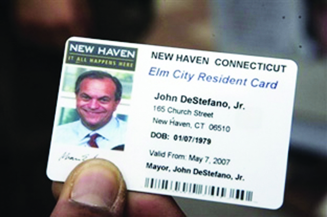 A municipal ID card for New Haven Mayor John DeStafano, who set up the first such program in the U.S.