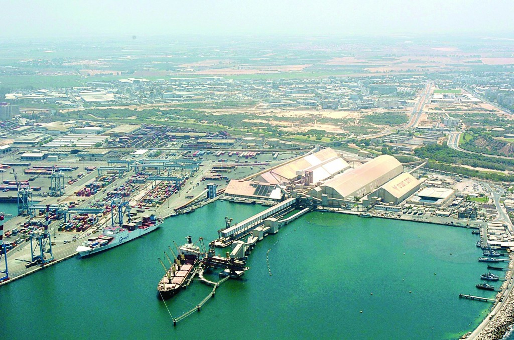 An aerial view of the port of Ashkelon. (Flash90)