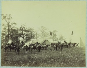 Members of the construction corps hanging a telegraph wire in 1864. (Library of Congress)