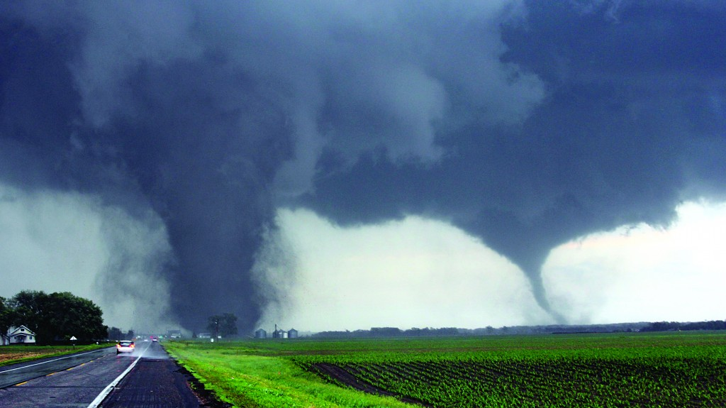 Two tornadoes touch down near Pilger, Nebraska. Tornadoes hit rural areas of northeastern Nebraska Monday afternoon.  (REUTERS/Lane Hickenbottom)