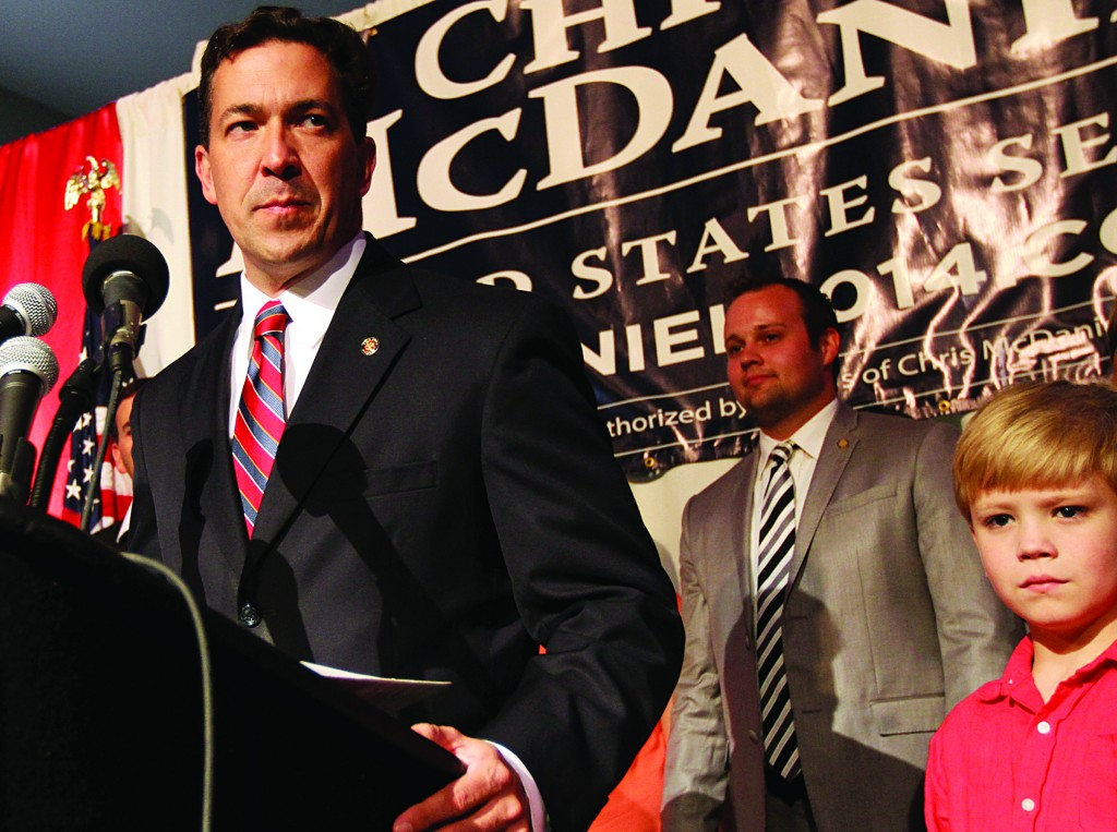Chris McDaniel addressing his supporters after falling behind in a heated GOP primary runoff election against incumbent U.S. Senator Thad Cochran on Tuesday June 24 at the Lake Terrace Convention Center in Hattiesburg, Miss. (AP Photo/George Clark )