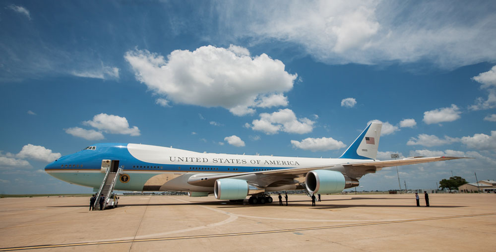 Air Force One waits for President Barack Obama's return to Austin-Bergstrom International Airport on Thursday, in Austin, Texas. The president traveled to Austin to attend fundraisers and deliver a speech on the economy. (AP Photo/Tamir Kalifa)