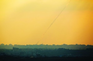 A smoke trail is left by a rocket launched from the northern Gaza Strip toward Israel. (REUTERS/Amir Cohen )