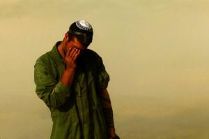 Davening near the border with Gaza on Sunday.  (REUTERS/Siegfried Modola )