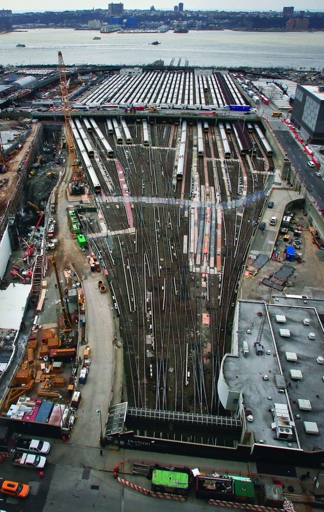 LIRR trains are parked last month near ongoing construction of a $20 billion Hudson Yards project. (AP Photo/Bebeto Matthews)