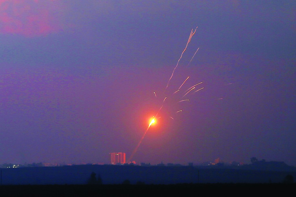 Rockets launched from the Gaza Strip seen near the border with Gaza, in Southern Israel on July 23,. (Nati Shohat/Flash90)
