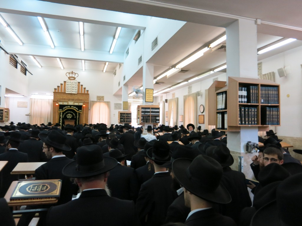 Davening for rachamei Shamayim at atzeres tefillah in Yeshivas Mir Yerushalayim.