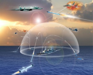 """Artist's rendition of Barak missile defense system, the navy's """"Iron Dome."""""""