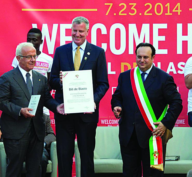 Mayor Bill de Blasio on Wednesday receives honorary citizenship from Carmine Valentino, mayor of Sant'Agata, where de Blasio's grandfather Giovanni de Blasio was born.