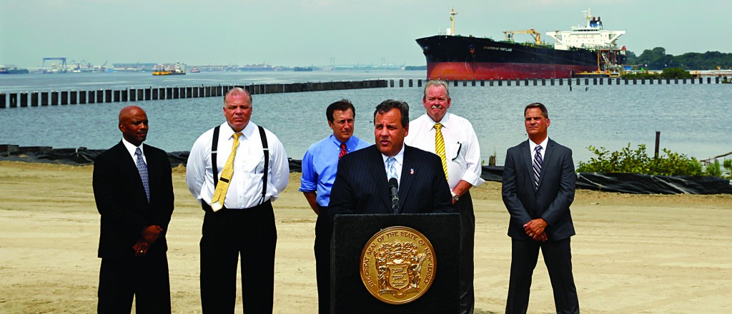Governor Chris Christie on Monday at the Paulsboro Marine Terminal Wharf construction project in Paulsboro, N.J. (AP Photo/Mel Evans)