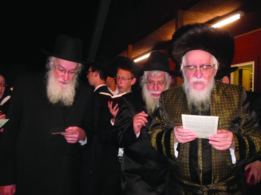 The Nadvorna Rebbe of Boro Park (R) and Harav Yisroel Belsky, Rosh Yeshivah of Torah Vodaath and Mara d'Asra of Camp Agudah, recite Kiddush Levanah on Motzoei Shabbos.