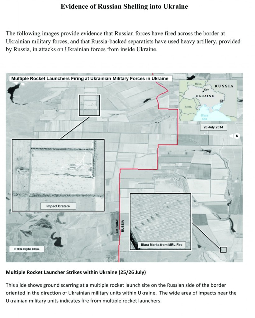 This first page of a four page document released by the U.S. State Department in Washington, shows a satellite image that purports to shows ground scarring at a multiple rocket launch site on the Russian side of the border oriented in the direction ofUkrainemilitary unites withinUkraine.  (AP Photo/U.S. State Department)