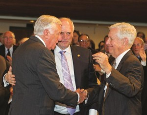 House Democratic Whip Steny Hoyer (D-Mont.), left, greets Sen. Ben Cardin (D-Md.), with Malcolm Hoenlein in the center. (Conference of Presidents)