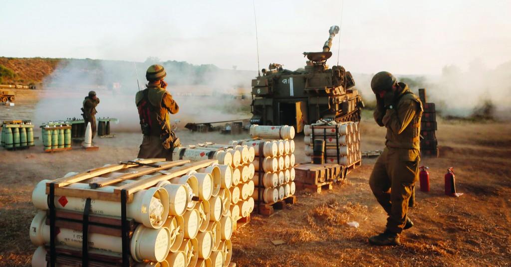 An IDF artillery corps is seen near the Gaza border, Thursday. (Miriam Alster/FLASH90)