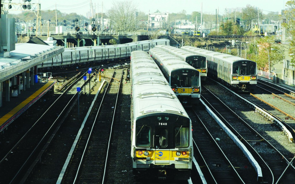 A train makes its way to the Long Island Rail Road Jamaica Station in Queens. (AP Photo/Frank Franklin II)