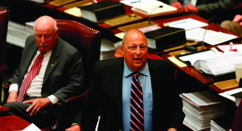 Sen. Thomas Libous (R) at the Capitol in Albany two weeks ago. (AP Photo/Mike Groll)