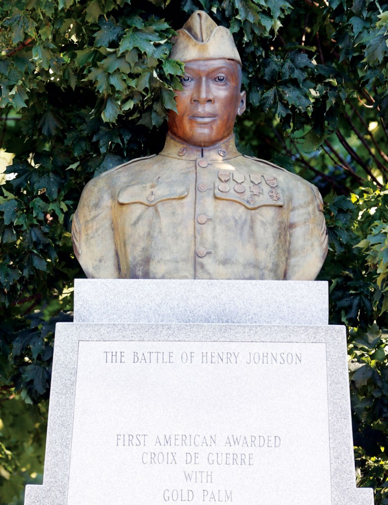 A statue of Henry Johnson stands Thursday in Washington Park in Albany. (AP Photo/Mike Groll)