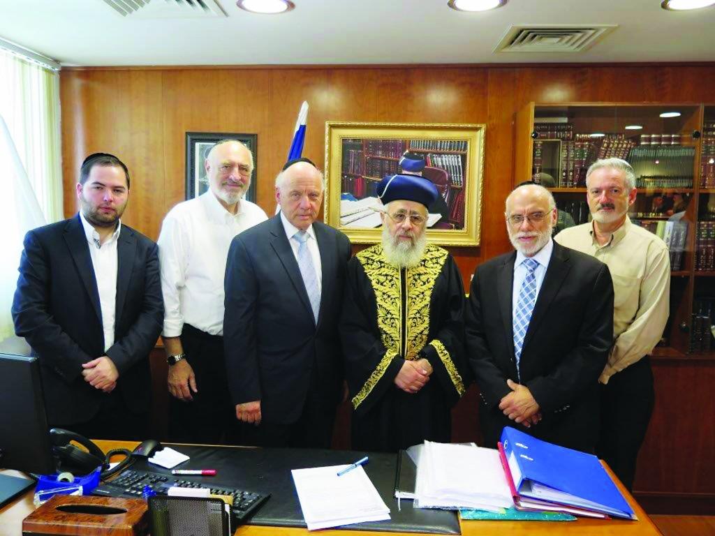A delegation of the International Committee for the Preservation of Har Hazeisim in meeting with the Rishon LeTzion, Chacham Yitzchak Yosef, the Sephardic Chief Rabbi of Israel. (L to R) Yanky Bichler, Harvey Schwartz, Menachem Lubinsky, Chief Rabbi Yitzchak Yosef, Avrohom Lubinsky and Jeff Daube.