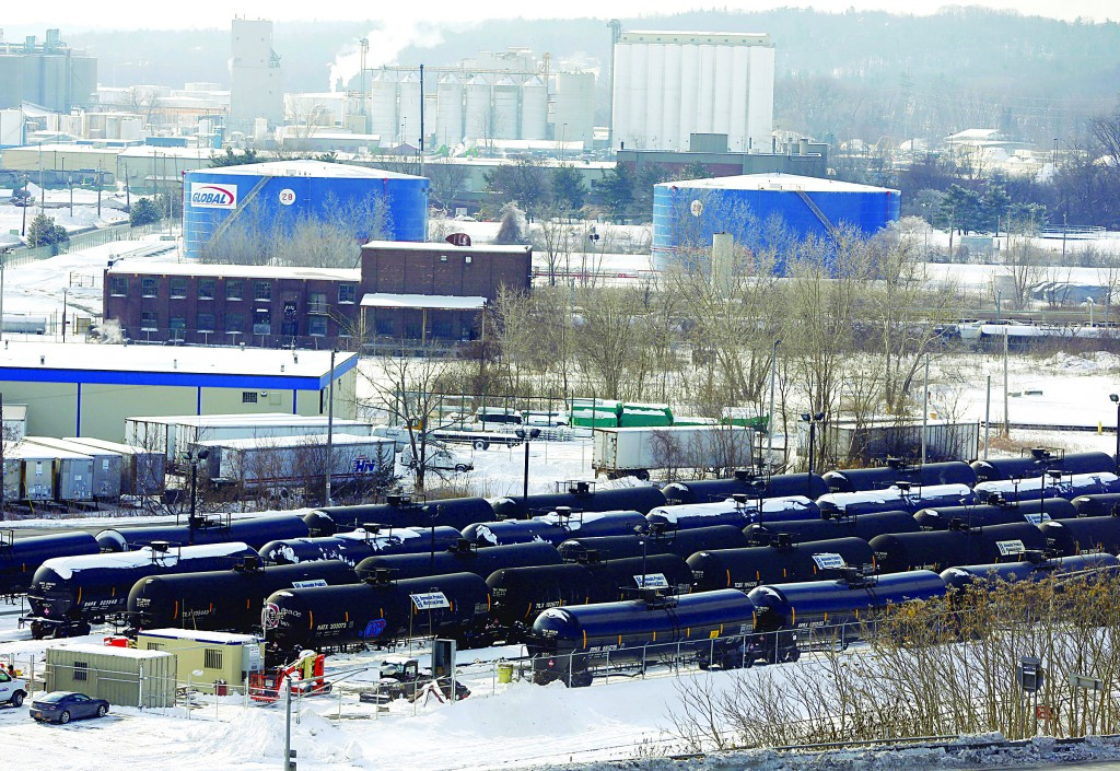 Railroad oil tanker cars are lined up at Global Partners at the Port of Albany. (AP Photo/Mike Groll)