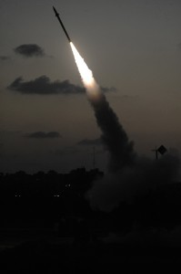 An Iron Dome missile defense battery set in the Ashdod area fires an intercepting missile on Sunday. (David Buimovitch/Flash90)