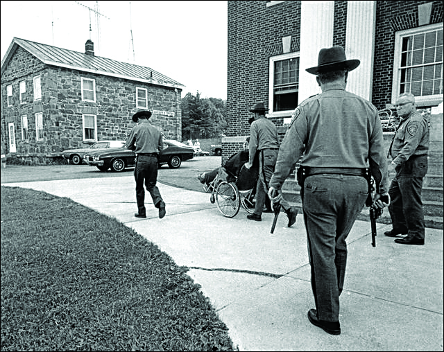 An early 'Gray Riders' patrol of state police in 1974. (Murderpedia)