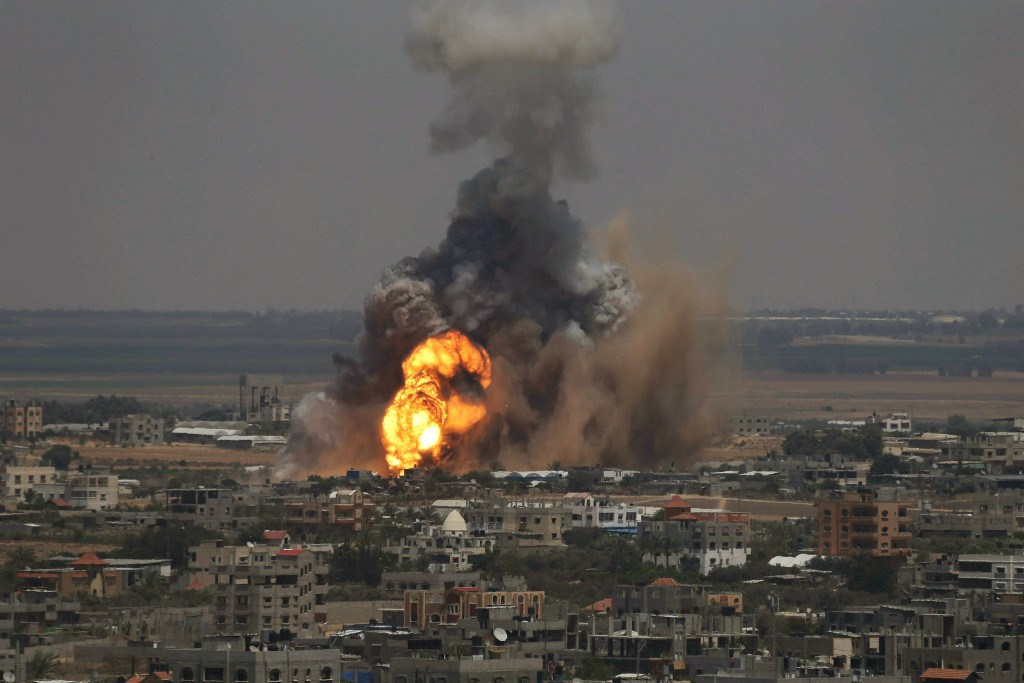 Israel launched an airstrike on Rafah, in southern Gaza, on Tuesday. (Ibraheem Abu Mustafa/Reuters)