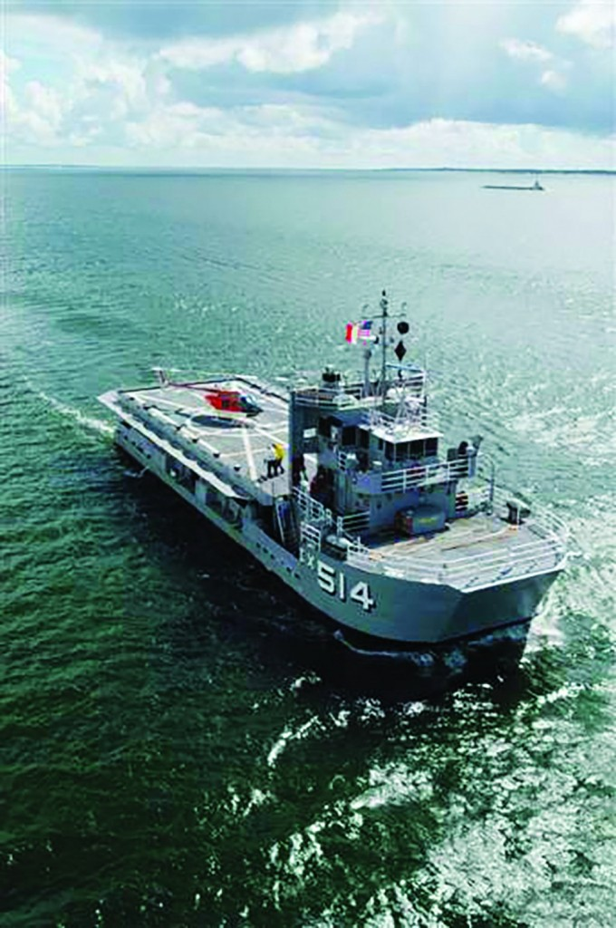 U.S.S. Baylander, the Navy's smallest aircraft carrier