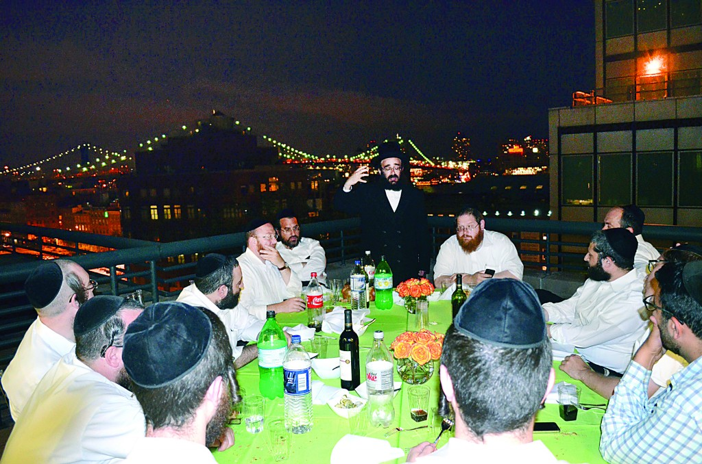 At a siyum on maseches Taanis in the Manhattan office of OTR Media Group, led by Ari Noe.