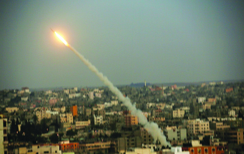 An M75 rocket launched from the coastal strip into Israel by Hamas terrorists on Wednesday.(EPA/MOHAMMED SABER - Yonatan Sindel/Flash90)