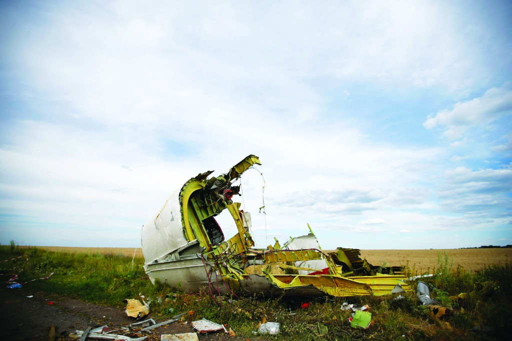 Part of the wreckage at the crash site of the Malaysia Airlines Flight MH17.  (REUTERS/Maxim Zmeyev )