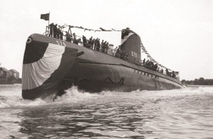 Swordfish (SSN-579) breaks for the water with flags and bunting flying, August 27, 1957, at Portsmouth Naval Shipyard, Kittery, Maine. (U.S. Navy Photograph courtesy of Scott Koen & ussnewyork.com)