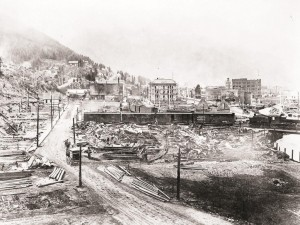 The Great Fire of 1910 was a wildfire that burned about three million acres in northeast Washington, northern Idaho, and western Montana. One third of Wallace, Idaho (pictured), was burned to the ground.  The firestorm burned over two days and killed 87 people, mostly firefighters. (National Photo Company - U.S. Library of Congress)
