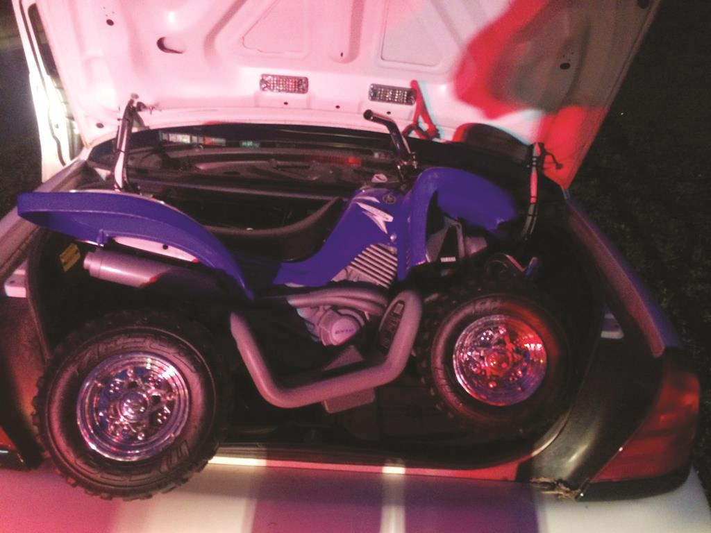 The toy ATV used Sunday by a 6-year-old boy to drive onto the Bronx River Parkway. (AP Photo/Westchester County Police)