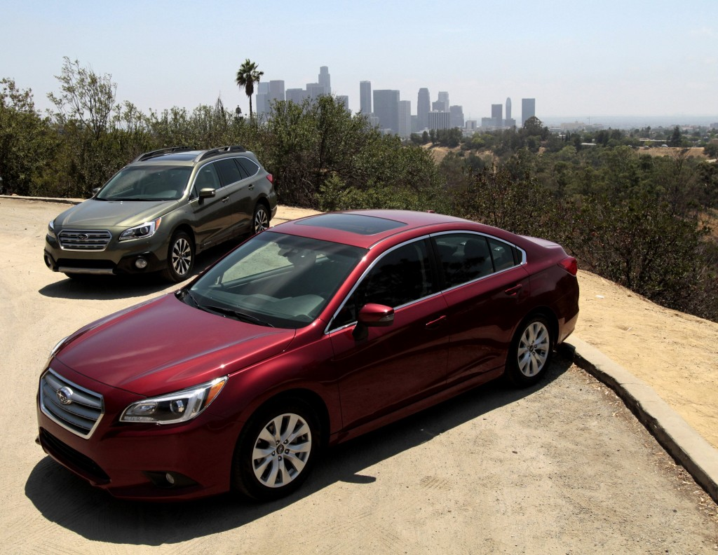 Left to right, the Subaru Outback wagon and the Subaru Legacy sedan show a turn in the brand toward technology to give drivers an extra measure of security at tantalizing prices. (Glenn Koenig/Los Angeles Times/MCT)