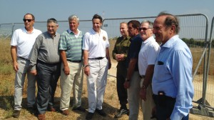 Gov. Andrew Cuomo with a New York delegation — including Senate co-leaders Dean Skelos and Jeff Klein, and Assembly Speaker Sheldon Silver — get a briefing on the Iron Dome anti-missile system near the Gaza border. (Office of the Governor)