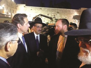 Cuomo on Wednesday night met Councilman David Greenfield at the Kosel. Abe Eisner is in the center.