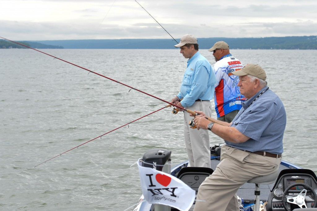 Gov. Andrew Cuomo on Saturday, fishing in the Finger Lakes as part of his 2014 Bassmaster Governor's Challenge. (Office of the Governor)
