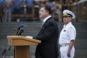 Ukraine's President Petro Poroshenko speaks during Independence Day celebrations, in the Black Sea port of Odessa on Sunday.  (REUTERS/Mikhail Palinchak/Pool)