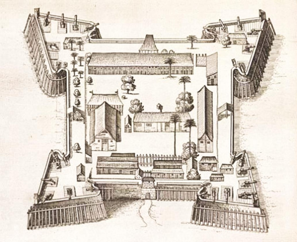 A drawing from 1646 of Fort Nassau.